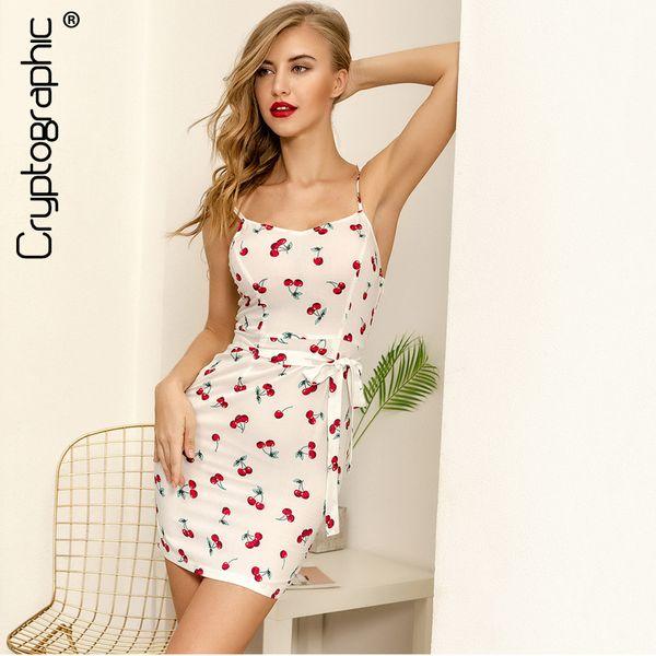Cryptographic Casual Backless 2018 summer dress women Cherry print Spaghetti Strap short sexy dress belt sundress dresses female