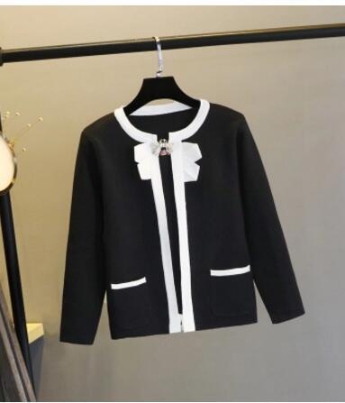 2018 Autunno nuovo design delle donne o-collo manica lunga nero colore bianco blocco arco patchwork maglia maglione cardigan corto cappotto SML