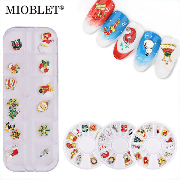 MIOBLET 1Box Christmas Alloy Ornament Nail Art Decoration In Wheel Snowflake Snowman Shoes Cap 3D Charm Nail Decoration For Gift