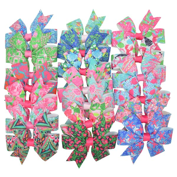 Duwes 20pcs 20 Colors Lilly Printed Grosgrain Ribbon Bows Clips Girl 'S Hair Boutique Headware Kids Hair Accessories Mix