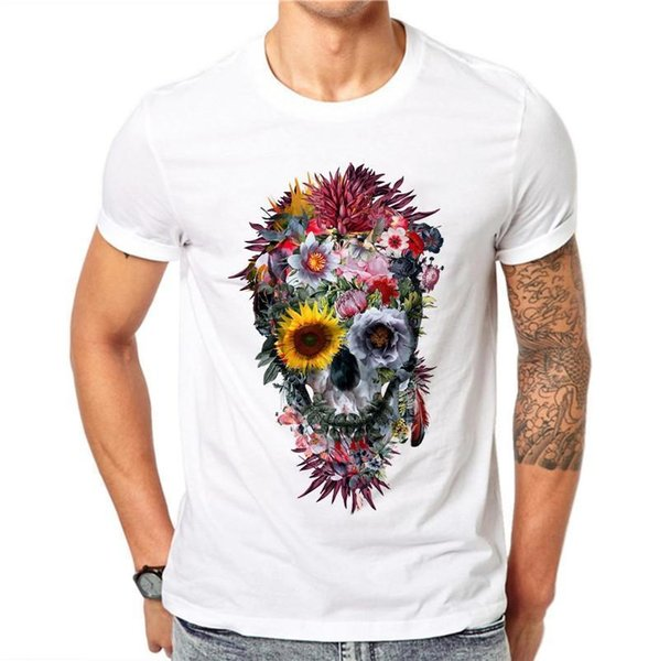 100% Cotton Men Fashion Voodoo Skull Design Short Sleeve Casual Exquisite Flower T Shirt top Tee Hipster O-Neck Casual Short tee Shirt
