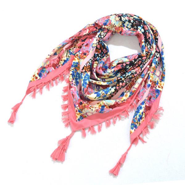 2018 Women printing cotton Square 110*110cm scarf pink Bohemia national wind floral Pashmina Jacquard towel Muslim Headscarf