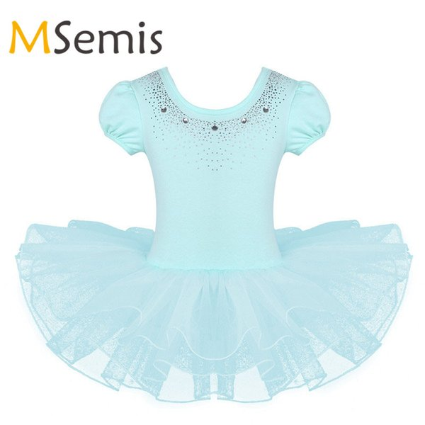 Kids Girls Ballet Dress Mesh Short Bubble Sleeves Sparkly Rhinestones Tutu Ballet Dance Gymnastics Leotard for Girls Tutu Dress