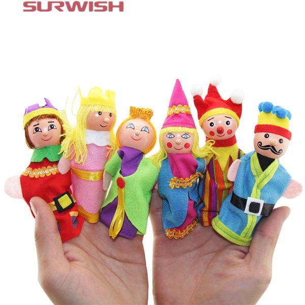Surwish 6Pcs Soft Plush Fairy Tale Castle Story Finger Puppet Set Children Story Telling Helper Dolls