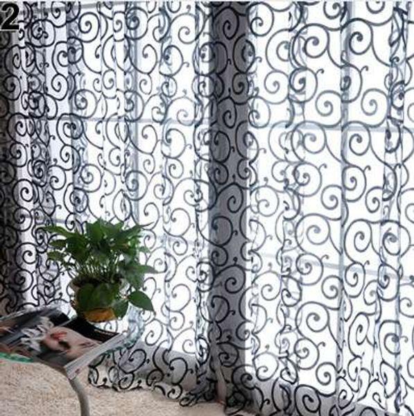Romantic Floral Vine Voile Tulle Door Window Curtain Tulle Fabrics Organza Sheer Panel Window Treatment Drop Shipping