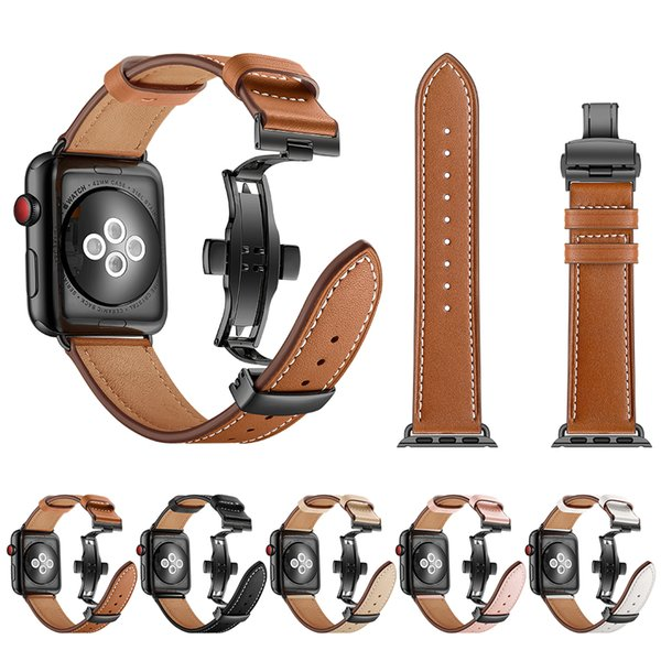 Band for Apple Watch 38mm 40mm 42mm 44mm Genuine Leather Butterfly buckle Watchband for Apple Iwatch Strap Series 1 2 3 4 Wristband Belt
