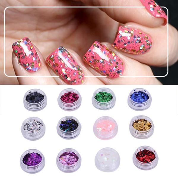12 Colors/Set Beautiful Round Shape Nail Art Glitter Fashionable Women Nail Tip Gel Polish Decorative Manicure Tool Set in Stock