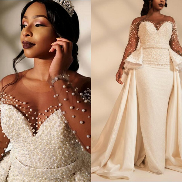 Старинные Русалка свадебные платья плюс размер жемчуг Sheer шеи с длинным рукавом robe de mariage сад церковь Chic свадебные платья