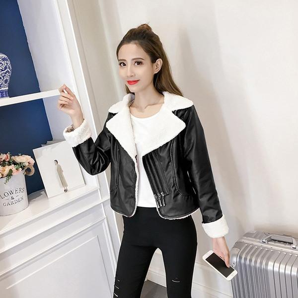 2018 Women Faux Leather Jacket Women Short Motorcycle Jacket Warm Thick Zipper Lamb Wool Coat