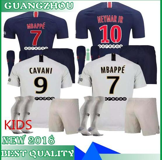 daa15578 18 19 PSG NEY MAR JR MBAPPE kids kit home away soccer sets CAVANI Verratti  2018
