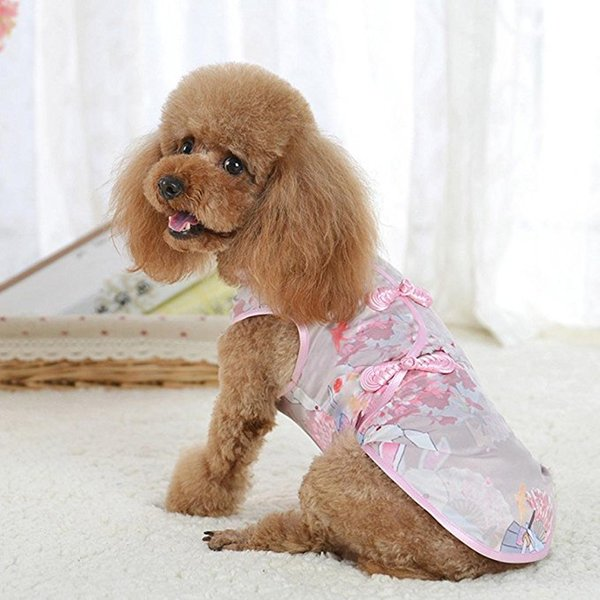 Pet Clothes,Cute Tang Suit Chinese Cheongsam Costume Clothes for Dogs Pet Puppy Cats