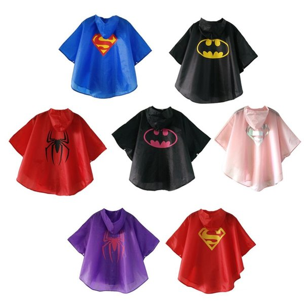 Hot Sale 7 styles New Kids Rain Coat children Raincoat Rainwear Rainsuit boys girls Kids Waterproof Superhero Raincoat