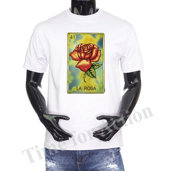 Loteria Card La Rosa Mexican Card Game Graphic T shirt Fashion Mens Short Sleeve Cheap Sale O Neck T-Shirt Free Shipping