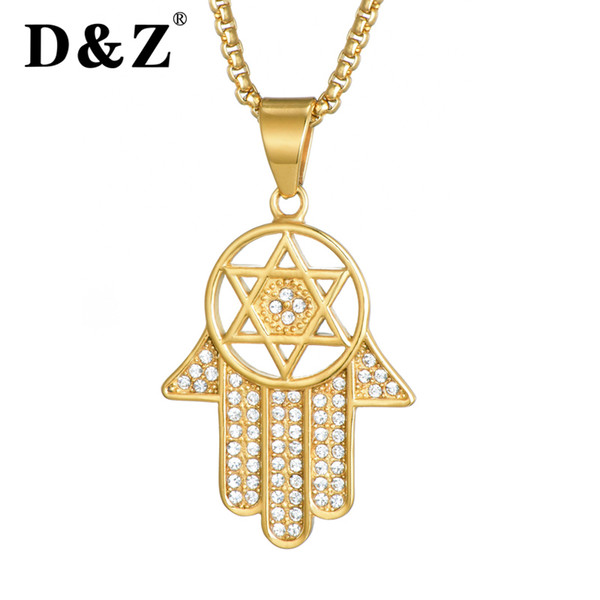 D&Z Hip Hop Zircon Hand of Fatima Pendants & Necklaces Stainless Steel Gold Color Chain Palm Hamsa Statement Jewelry for Men