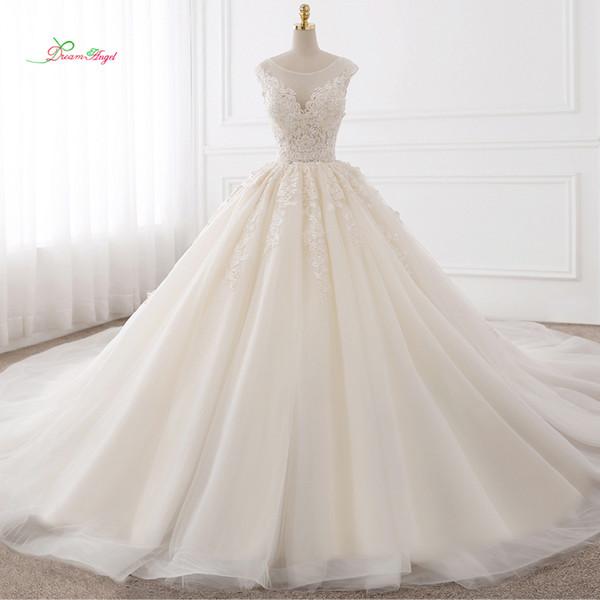Vestido De Noiva Sexy Backless A Line Wedding Dresses 2018 Appliques Lace Royal Train Tulle Bride Gowns Plus Size