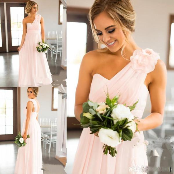 Elegant Eine Schulter Lange Brautkleider Mit Blumenfalten chiffon schlicht Eine Linie Trauzeugin Kleid billig
