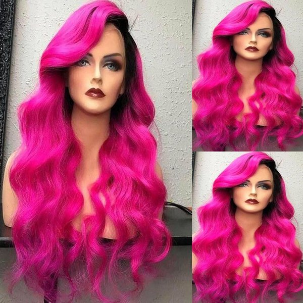 T1b Pink Two Tone Ombre Full Lace Human Hair Wigs For Black Women Cheap Brazilian Body Wave Virgin Hair Glueless Lace Front Wigs