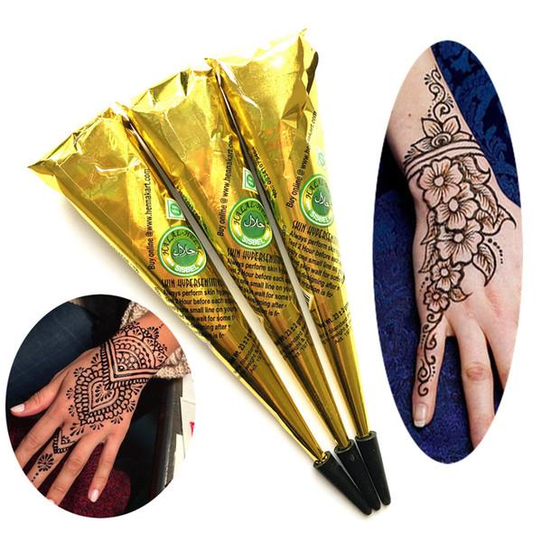3PC/LOT Women Makeup Sexy Black Henna Tattoo Paste Cones, Indian Waterproof Mehndi Henna Tattoo Cream For Body Paint Stencil