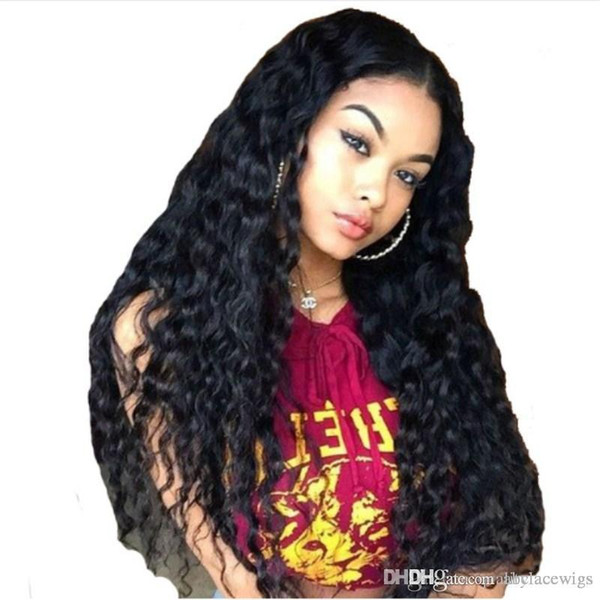 150% Density Glueless Lace Front Human Hair Wigs With Baby Hair Curly Wavy Malaysian Virgin Hair Wigs For Black Women Pre Plucked