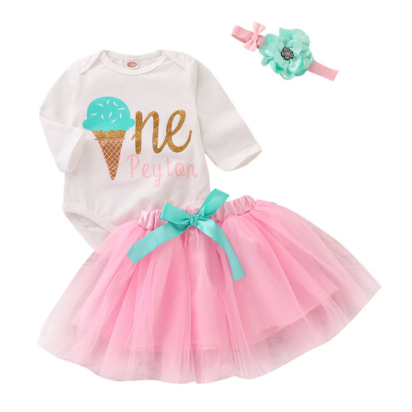 Mikrdoo Toddler Infant Baby Girls Clothes Set Ice Cream Print Long Sleeve Romper Tutu Skirt with Headband Cute 3PCS Outfit