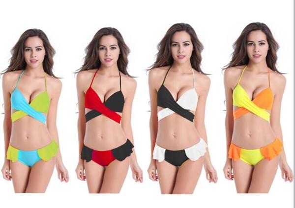 Colori Costumi Da Bagno : Acquista costume da bagno imbottito bikini patchwork sexy costumi