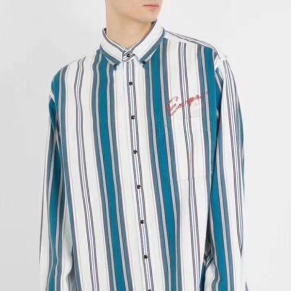 Camisa de manga larga de parche a rayas azul y blanco 2018SS Camisa de manga corta para mujeres y hombres Camisa de alta calidad cómoda HFBYTX202