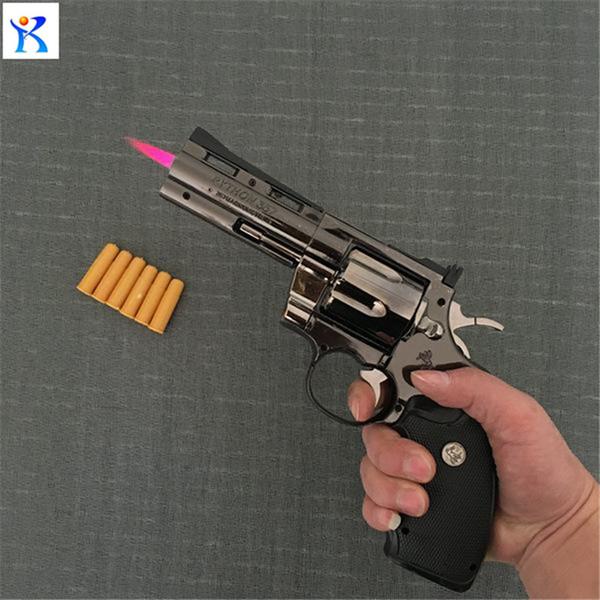 Python Revolver Briquet En Métal Type Revolver Pistolet Gonflable Coupe-Vent Mobilier Briquet Ornements Personnalisé 357 Pistolet Briquet