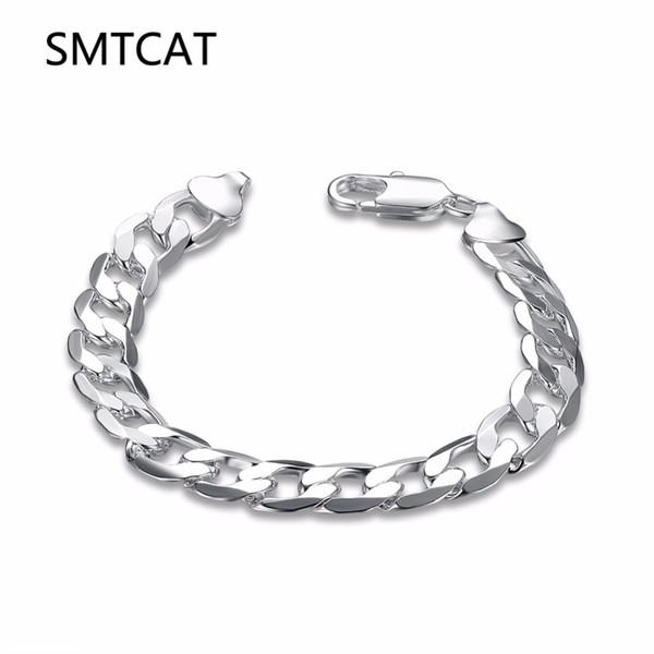 SMTCAT Men's Jewelry 10mm 20cm Silver Color Flat Sideways Link chain bracelet bangle argent 925 bijoux Male model Christmas Gift