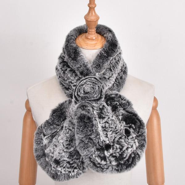 Women 100% Real Rex Rabbit Fur Scarf Knitted Natural Fur Neckerchief Fashion Flower Multicolor Rabbit Scarves