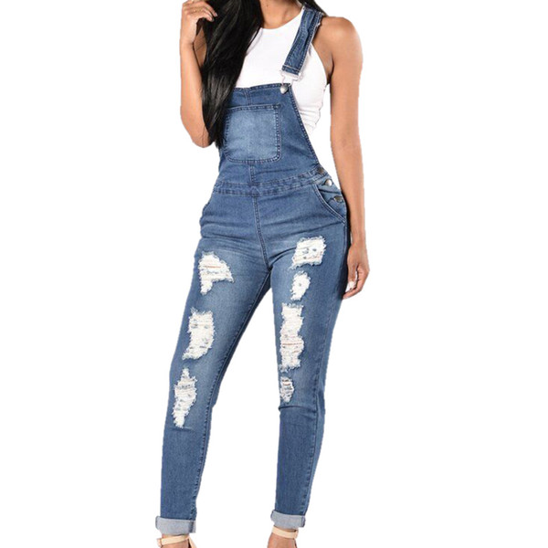 2018 Denim Jumpsuits Women Fashion Ripped Hole Long Overalls Jeans Jumpsuits Feminine Casual Washed Hollow Out Rompers