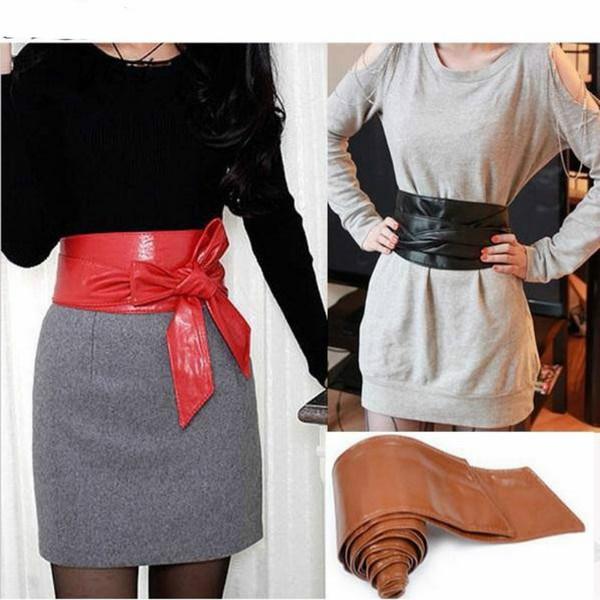 Moda elegante Lady Bowknot Bind Cinturones anchos para mujeres Cintura  Waistband Cinturón largo círculo Cummerbund para 4f5f076acde2