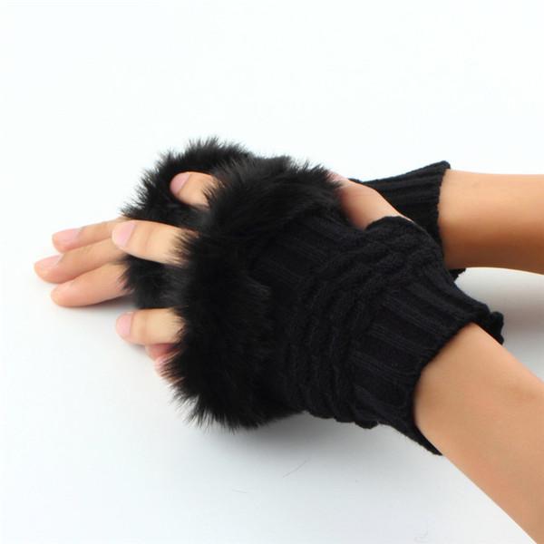 Women Fingerless Gloves Cute Faux Rabbit Fur Winter Knitted Gloves Female Warm Soft Wrist Hand Mitten Drop Shipping