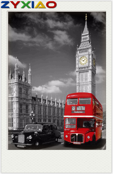 5D Diamond embroidery street castle red bus diy diamond painting cross stitch kit resin full round&square diamond mosaic home decor AA0852