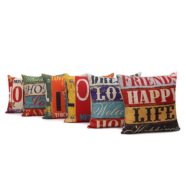 compre venta al por mayor 6 estilos de lino 45 * 45 cm amor hogar