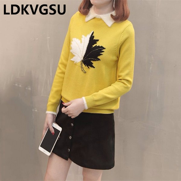 2018 Fashion New Autumn Winter Women Pullover Sweaters High Quality Lapel Maple Leaf Pattern Short Knitted Sweater Female Is734