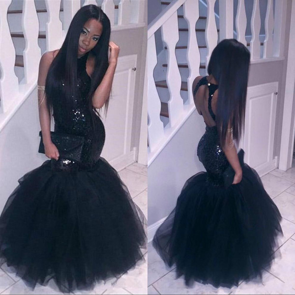 Sexy Backless Black Girls Mermaid Prom Dresses Sequins 2018 African Formal Long Party Sexy Evening Dresses Gowns Guest Wear Robe De Soiree