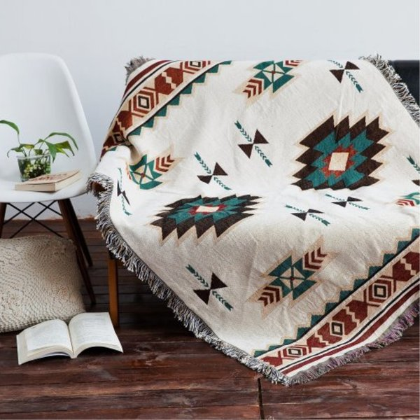 Multi-function 100% Cotton Throw Double Faced Crochet Thread Blanket Sofa Chair Cover Tapestry Bed Lid Carpets Towel