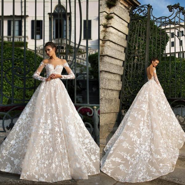 2019 diseñador otoño nueva manga larga de encaje vestidos de boda ilusión escote sin respaldo de alta calidad vestido de novia de fábrica por encargo BA9028