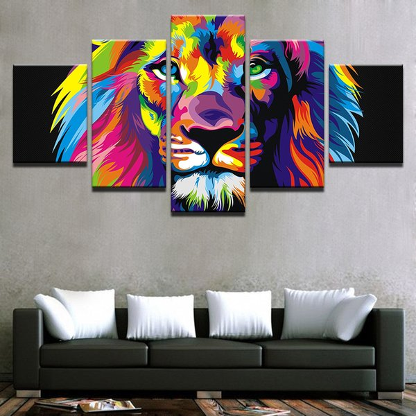 HD Printed Modern Painting On Canvas Posters Frame 5 Piece/Pcs Colorful Lion Modular Picture Wall Art Home Living Room Decoration