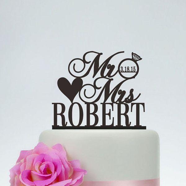 Wedding Cake Personalized MR MRS Diamond Topper Wedding Decoration Custom Wedding Last name and date Cake Topper Free Shipping