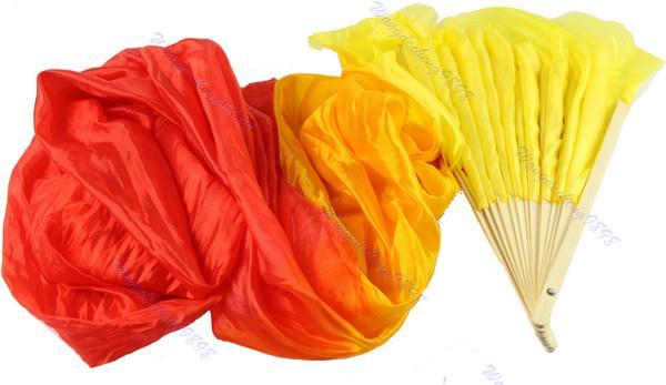 Fatti a mano colorati danza del ventre danzante lungo in seta di bambù Veli 4 colori -Y107