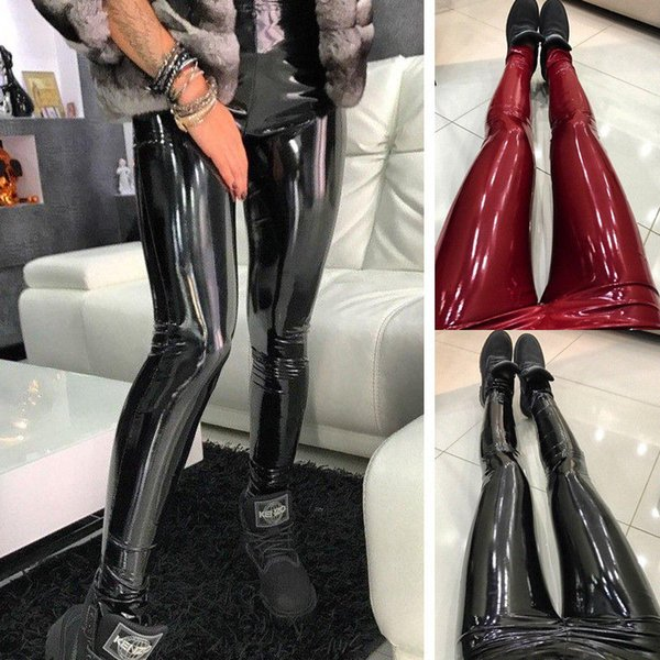 92084e39b5817 Women Shiny Vinyl Faux Patent Leather Stretch Leggings Wet Look PVC PU  Trousers ,two color
