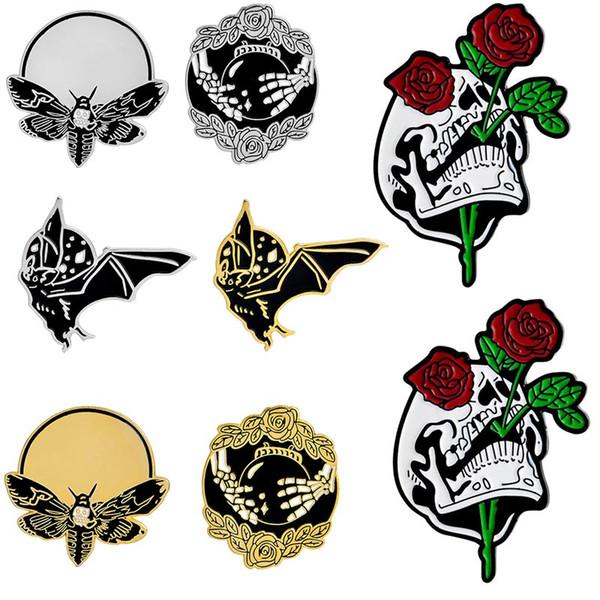 Cráneo Rosas Broches de mano Bola de cristal Bat Broche de abeja Punk Dark Enamel Pins Botón Chaqueta de mezclilla Abrigo Bolsa Accesorios Pin insignia enviar