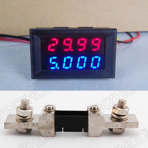 Freeshipping 200V 0-200A DC Digital LED Voltmeter Ammeter Dual display Amp Volt Meter + 200A shunt 12v 24v CAR Voltage and current