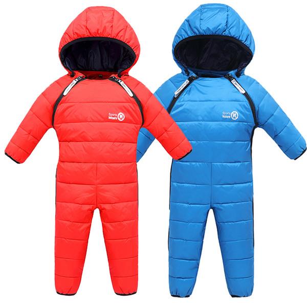 2018 New Winter Baby Snow Overalls Children Romper Duck Down Snowsuit Girl Toddlers Unisex Baby Onesie Thick Jumpsuit