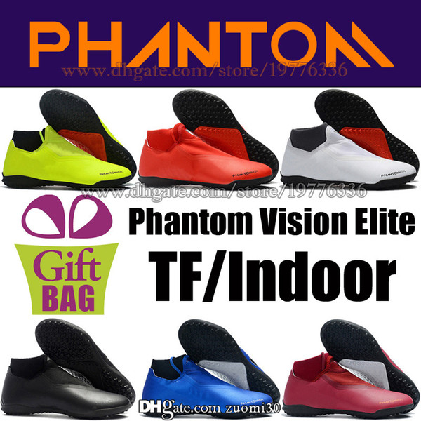 High Ankle Football Boots Socks TF Phantom Vision VSN Elite Turf Soccer Boots Trainers Indoor Soccer Football Shoe Top Quality Soccer Cleats