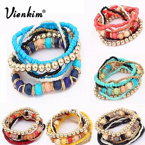 Vienkim 2018 New Bohemian Jewelry MutiLayer  Bracelets & Bangles for Women Elastic Strand Pulseras Mujer Femme Bijouterie