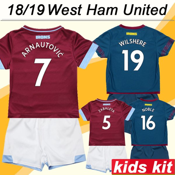 d669c3b95 2018 19 West Ham United CHICHARITO WILSHERE Kids Kit Soccer Jerseys  ZABALETA ARNAUTOVIC Home Away Child Football Shirts CARROLL NOLE Uniform
