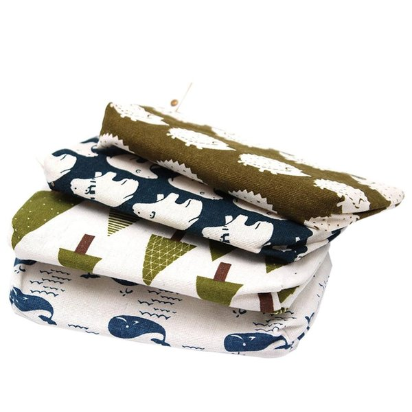 Set of 4 - Adorable Forest and Animal Linen Pencil Case Pen Zipper Bag Coin Organizer Makeup Costmetic Bag Pouch