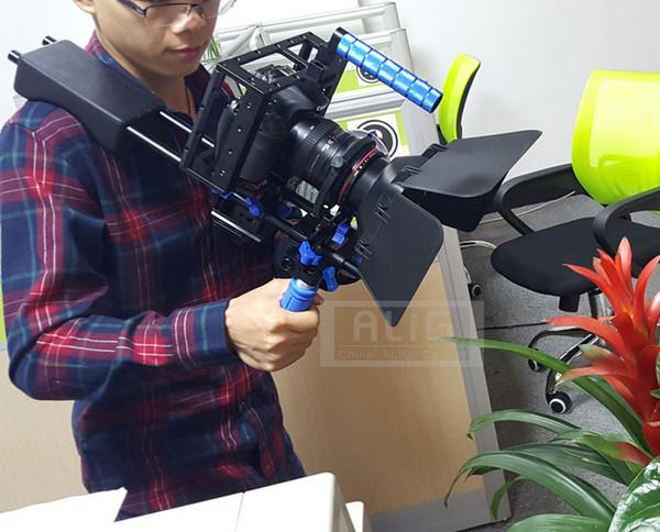 5D2 5DIII 5D4 80D 70D 6D DSLR Rig Shoulder stand + Camera handheld case + Lens hood Follow focus belt Photo Studio Accessories